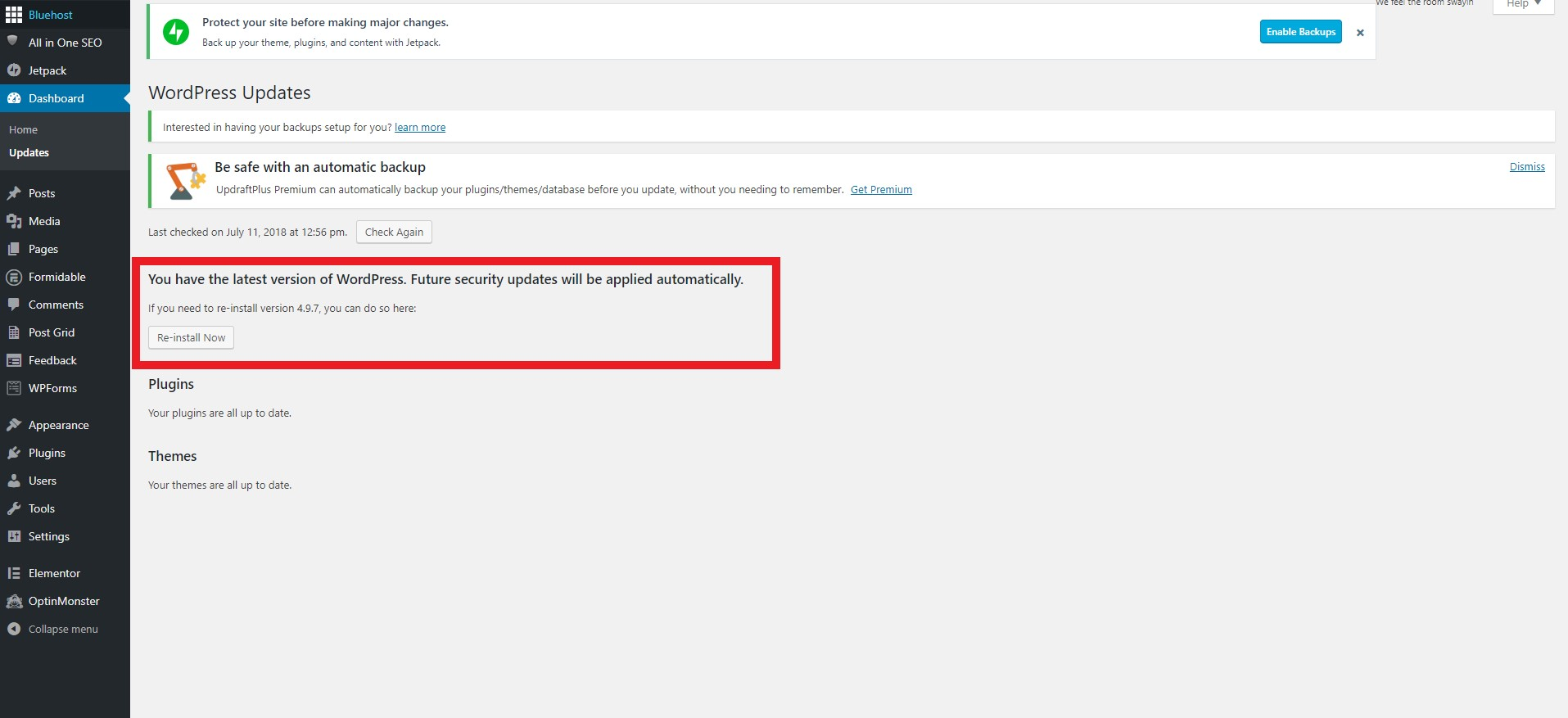 """A square around the WordPress update area under the """"Updates"""" page"""